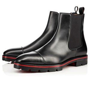2119 Parte inferior de lujo de las botas del tobillo Hombre Rojo Melón Piel Negro para hombre de goma con salientes Sole Partido botín Moda Nupcial