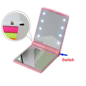 LED Schminkspiegel Reise Folding Portable Compact Pocket 8 LED Lichter Beleuchtete Dame Led Make Up Spiegel Lichter Lampen DH0732