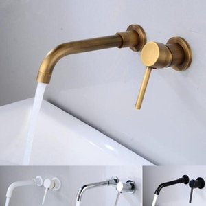 Modern Pirinç Duvar Banyo Havzası Musluk Duvar Evye Döner Borulu Banyo Mikser dokunun Vinç Antik Bronz Biten Monteli