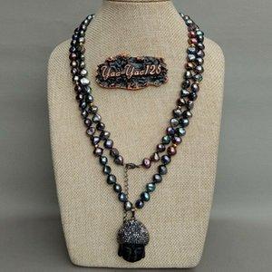 "41"" Cultured Pearl Noir baroque Collier Noir Bouddha Pendentif"