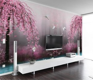 Custom 3D Wallpaper Mural 3D living room tv Background Bedroom Wallpaper Fantasy pink cherry blossom Swan Lake Mural Wallpaper