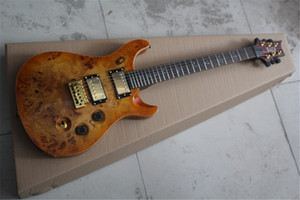 Free shipping Custom Shop Guitar Golden Hardware Single shake bridge Burl veneer lines Electric Guitar