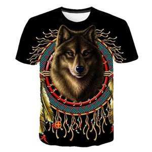 New wolf digital printing T-shirt 3d T-shirt men's round neck short sleeve European and American personality t shirt