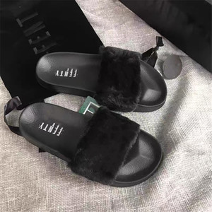 Women Real Fox Fur Slippers Feather Vegan Leather Flip Flops Open Toe Single Strap Slip On Sandal Shoes Woman Home Ffy Slides#798