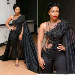 Sexy noir Robes chasubles Tenue de soirée avec Wrap Afrique du Sud arabe dentelle Appliqued Robes de bal perles Grandes Tailles Robe formelle