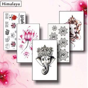 Temporary Tattoos # 11 5 pc / insieme temporanei piccoli tatuaggi, non tossici e impermeabile Ganesha OM Yoga Symbol Lotus Tattoo