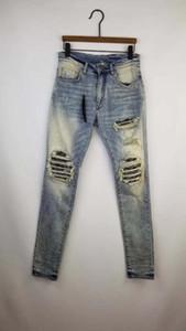 I nuovi uomini MX1 sporco lt blu Bandana costine patch skinny pantaloni denim usurato