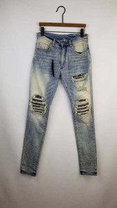 Neue Männer MX1 schmutzig lt blue Bandana gewelltes Patches Jean dünn distressed Hosen Denim