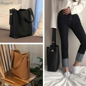 Fashion All Match Bucket Bag Korean Simple Style Pu Leather Single Shoulder Womens Handbags Female Bag Casual Black Light Brown