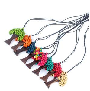 펜던트 목걸이 보헤미안 스타일의 보석 생활 나무 나무 패션 남자 여자 수제 나무 구슬 가죽 의류 액세서리 선물