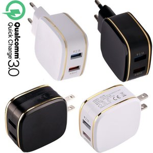 Dual usb Ports QC3.0 EU US AC Home Travel Wall charger Adapter For Ipad Iphone 7 8 x 10 Samsung Note 8 9 10 htc android phone