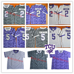Mens NCAA TCU Horned Frogs LaDainian Tomlinson College Football Jersey costurado branco roxo # 2 Trevone Boykin TCU Horned Frogs Jersey S-3XL