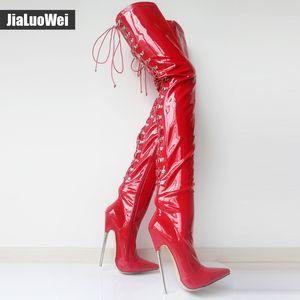 jialuowei 18cm alto talón de encaje hasta los talones dedo del pie acentuados de metal gótico punk modela atractiva del fetiche sobre la rodilla del muslo de la entrepierna botas altas