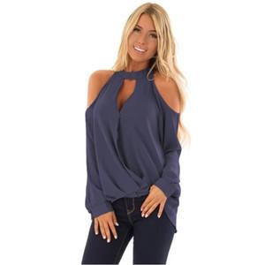 탑스 Halterneck 캐주얼 모든 경기 챠밍 오프 숄더 폴리 에스테르 봄 블라우스 여자 긴 소매 단추 쉬폰 여성 셔츠