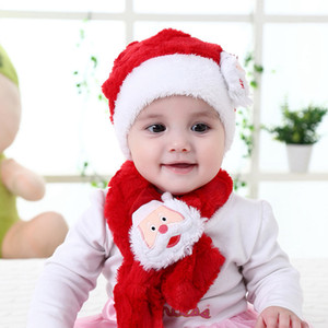 Дети Рождество Санта-Клаус шляпа шарф набор детей плюшевые мультфильм детские шарф дети зима теплая шапка рождественские шапочки LJJA3516-13
