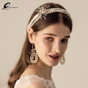 Vintage Pearl Tiara With Earrings Retro Bridal Hairbands Rhinestone Floral Wedding Hair Accessories Gold Color Headband