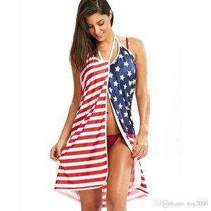 Vestido de playa con estampado de bandera estadounidense de EE. UU. Stars Stripes con cuello en V sin espalda con correa de espagueti Vestidos