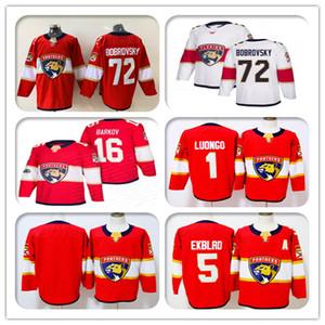 2019 Florida Panthers Ice 72 Sergei Bobrovsky 16 Aleksander Barkov 1 Roberto Luongo 5 Aaron Ekblad Hockey Jerseys رخيصة مخيط الأحمر الأبيض