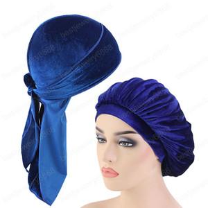 2шт/лот унисекс длинный хвост бархат durag и капот комплект женщины сна кепка бандане дышащий бандана химиотерапию шляпы головные уборы