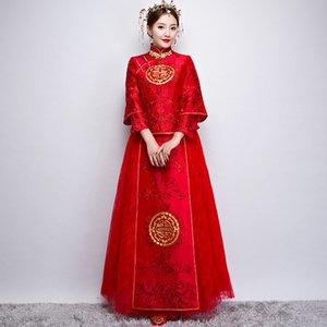 Neues chinesisches Weinlesebraut cheongsam Kleid Tang-Anzugkostüm chinesisches altes traditionelles vestido Rot heiratete ethnische Kleidung