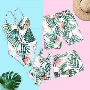 Familien Badebekleidung Tropical Leaf Beachwear Vater Mutter und Kinder Badeanzug Badehose Family Set ZC001