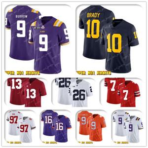 NCAA جو Burrow.10 Tom Brady Wolverines كلية كرة القدم جيرسي جاكوبي بريسيت جوناثان تايلور فيليب أندرو حظ داريوس ليونارد