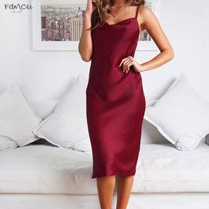 Summer Satin Dress Women Green Pink Black Spaghetti Strap Backless Midi Party Night Club Long Silk Slip Dress 2020