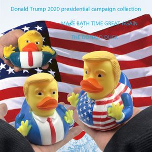 2019 Trump Duck Bath Toy Shower Water Floating Squeeze Sound Rubber Duck Baby Water Toy for children