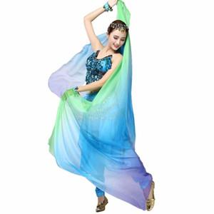 Novas senhoras Ballet Belly saia survêtement Femme Mulheres Dança Gradiente Silk Véu Xaile face Scarf Bollywood Trajes