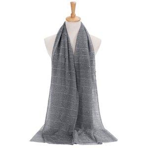 Mulheres Shimmer Hijab Faux pérolas com cercadura Crinkle Xaile muçulmana islâmica Turban Scarf 2XPC