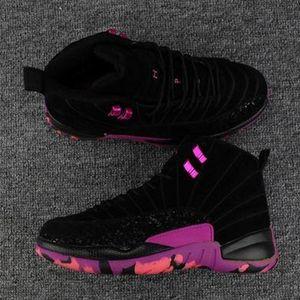 Neue 2019 Doernbecher Charitable Jumpman 12 Männer Basketball Schuhe Schwarz Hyper Violet Pink Blast 12 s Retro Sport Herren Chaussures Zapatos