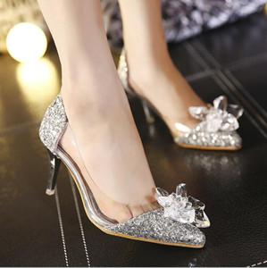 Gelin Boncuklu Lüks Tasarımcı Topuklar Külkedisi İçin Pırıltılı Stiletto topuk Kristaller Düğün Ayakkabı Poined Burun Rhinestones Gelin Ayakkabı