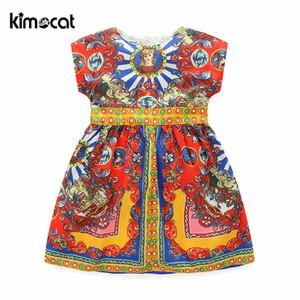 Kimocat Summer Girl Kids Dress manga O-cuello abstracto pintado para niños vestidos de princesa vestido de ropa estilo Casual J190505