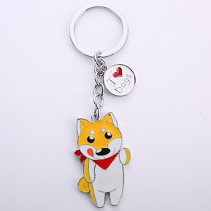 Cartoon Shiba dog pendant key chains for women men pet dog bag charm car key ring holder animal Pendant Charms gifts