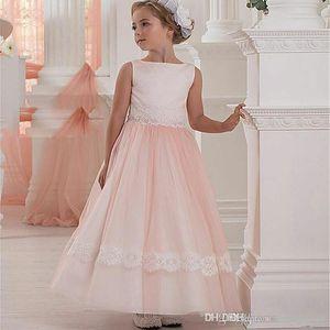 Элегантные розовые принцессы девушки цветка платья для венчания Тюль причастие День рождения платья партии шнурка девушки партии Banquet платья