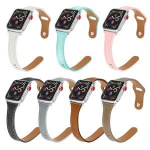 Slim en cuir Band pour Apple Montre Série 5/4/3/2/1 Sport Bracelet iWatch 44mm 40mm 42mm 38mm Wristband Fermeture Pintuck Watchband