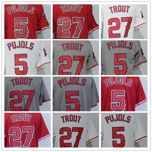 Cheap Men's #27 Mike Trout #5 Albert Pujols Blank Black White Red Grey Cool Base Baseball Jerseys Embroidery 100% Stitched