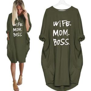 Verão Carta Mulheres Impresso vestidos do desenhador de moda do pescoço de grupo com painéis Vestidos Ladies Casual solta manga comprida Vestuário