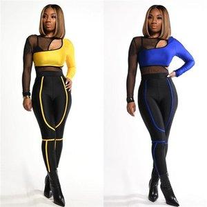 Frauen reizvolle Ineinander greifen Panelled Anzüge Frühling Designer Silm 2ST aushöhlen Striped Sets Weibliche Mode Langarm-Bleistift-Hosen-Trainingsanzüge