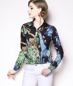 غابة النمر الزرافة طباعة كم طويل أسود المرأة القمصان مع وحيد الصدر طية صدر السترة السيدات قمصان الموضة المطبوعة أعلى