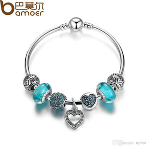 Hot Uphot 2019 hot Pandora Style Bracelets Romantic Vintage Bracelets Silver Color Heart Pendant Bracelets Bangle with Blue Beads Jewelry