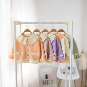 2020 Autumn Girls Princess Cardigan Fall New Children Ruffle Lapel Long Sleeve Sweater Kids Single Breasted Outwear Tops C6472