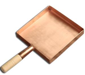 Японский Джейд Горение Чистая медь латунь Японская кухня деревянная ручка площади сковороду Brass выпечки противень 1510