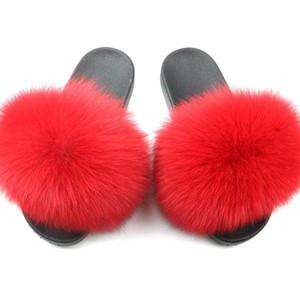 оптовые меховые сандалии из меха лисы енота норки слайды и полные большие меховые тапочки