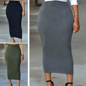 New Women Sexy Skirts Vintage Women Elegant High Waist Slim Pencil Skirts Elastic Bodycon Pencil Skirt S-XXL