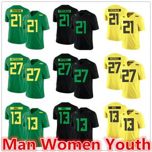 Personalizza NCAA Oregon Ducks calcio maglie Royce Freeman 21 Terrance Mitchell 27 Troy Hill 13 Maglia numero qualsiasi nome del formato S-5XL