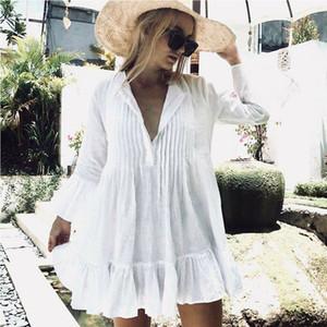 Abito estivo a mezza manica da donna sexy di moda Nuovo mini abito casual scollo a V allentato corto da spiaggia Coprire abiti da sole