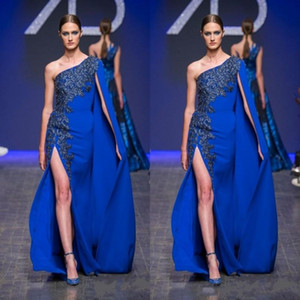 Royal Blue One Shoulder Abendkleider Spitze Applique High Split Prom Kleider mit Cape Style bodenlangen formale Party Kleider