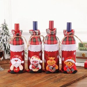 2020 New Year Santa Claus Snowman Wine Bottle Dust Cover Xmas Noel Christmas Decorations for Home Natal Dinner Champagne wine set