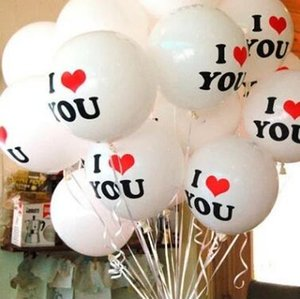 New LOVE White and Red Balloon Wedding Goods Birthday Party Balloon Thickening Spot Atmosphere Decoration Wholesale